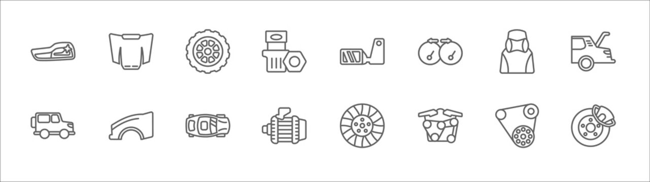 outline set of car parts line icons. linear vector icons such as car bonnet, car spare wheel, wing mirror, headrest, tailgate, hard top, fender (us, canadian), sunroof or sunshine roof, alternator,