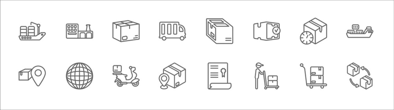 outline set of delivery and logistics line icons. linear vector icons such as factory, package, parcel, delivery delay, shipping, pin, earth grid, scooter delivery, localize, man, moving