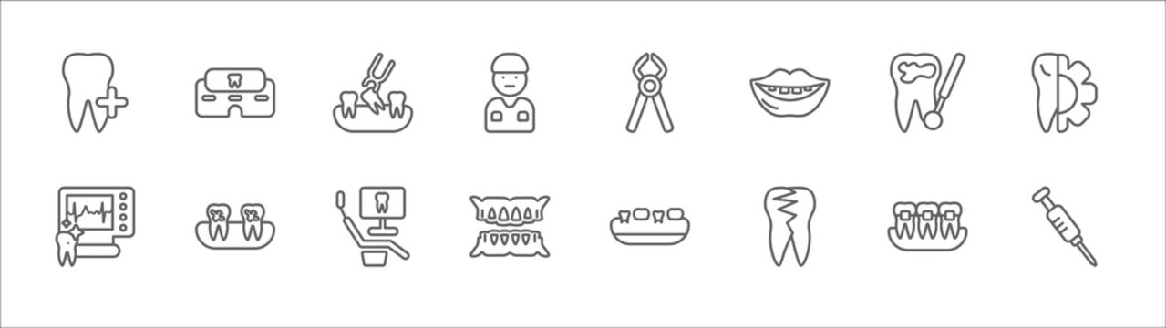outline set of dentist line icons. linear vector icons such as clinic, tooth extraction, tooth pliers, cavities, apicoectomy, ekg monitor, dental plaque, dental monitor, dentures, broken tooth,