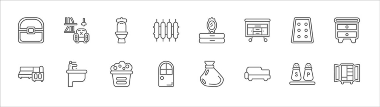 outline set of furniture and household line icons. linear vector icons such as living room, wc, mirror, mattress, nightstand, corner sofa, bidet, laundry hamper, door, fainting couch, dining table