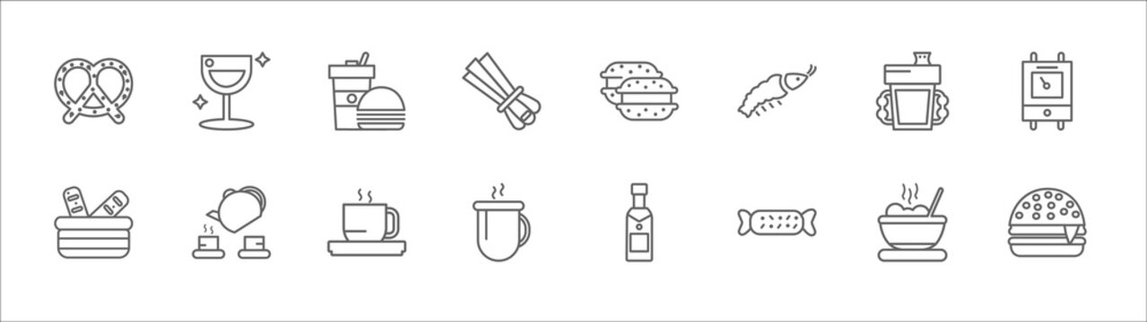outline set of food line icons. linear vector icons such as cup of wine, junk food, macarons, sippy cup, boiler, french bread, tea ceremony, hot herbal, hot coffee cup, wrapping, hamburguer