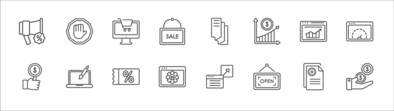 outline set of marketing line icons. linear vector icons such as ad blocker, web shop, flyer, crm, velocity test, bid, web graphic, coupon, service, open, get money