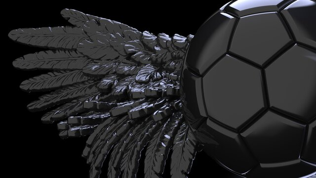Black soccer ball with the black Wings under flash light background. 3D CG. 3D illustration. 3D high quality rendering.