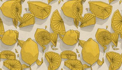 Fototapeta premium Cytryny pattern tapeta owoce żółte