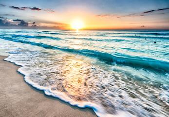 Sunrise over beach in Cancun