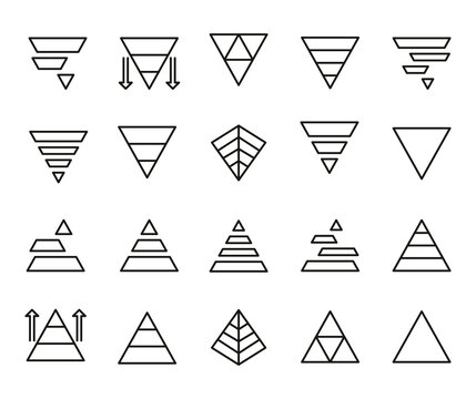 Vector line icons collection of pyramid chart.