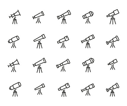 Set of telescope related vector line icons.