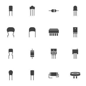Capacitor vector icons set, modern solid symbol collection, filled style pictogram pack. Signs logo illustration. Set includes icons as computer microchip, electronic components, transistors, resistor