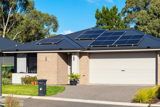 Typical new residential property with solar panels in South Australia