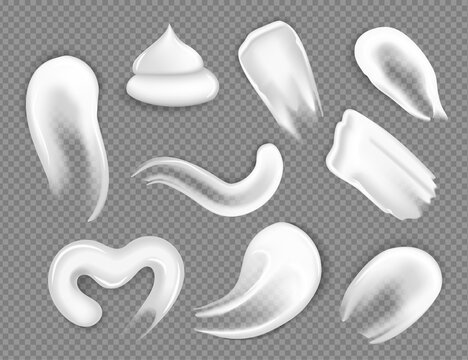 Cream strokes. Set of different realistic cosmetic creams on a transparent background, elements for product design. Mockup objects.