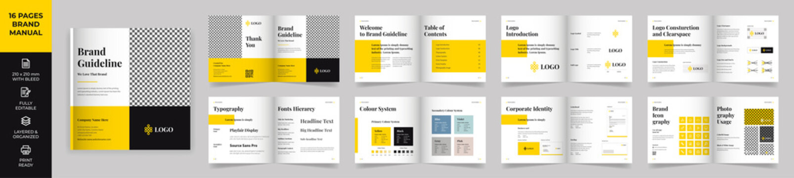 Square Brand Manual Template, Simple style and modern layout Brand Style , Brand Book, Brand Identity, Brand Guideline, Guide Book
