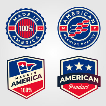 made in america usa label set retro illustration design