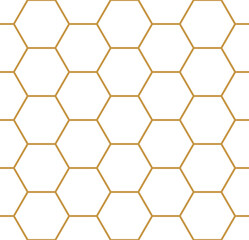 Vector seamless geometry pattern hexagon, gold color. Geometric honeycomb background.