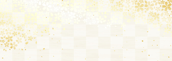 桜の花と市松模様の横長の背景イラスト
