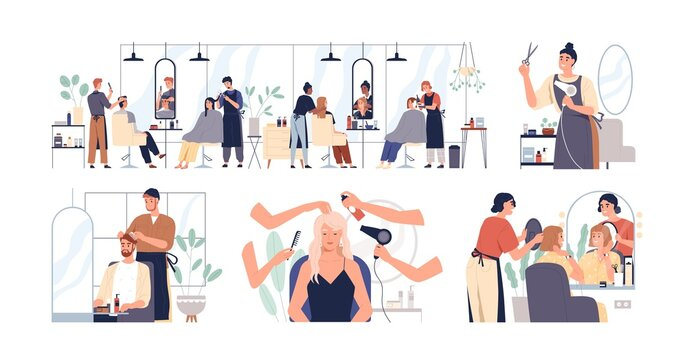 Set of hairdressers and barbers working with clients in hairdressing salon. Hairstylists doing haircuts and hairstyles for men and women. Colored flat vector illustration isolated on white background
