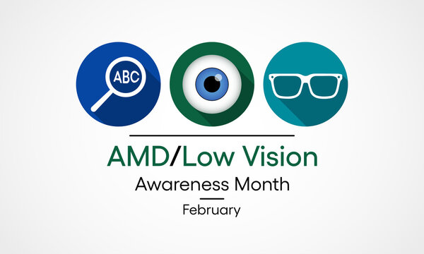Vector illustration on the theme of National AMD age related Macular Degeneration and Low vision awareness month observed each year during February.