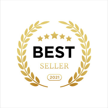 Best seller badge logo icon design laurel. Best seller vector isolated white background. EPS 10.