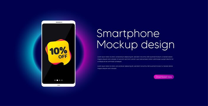 Sale 10 percent off banner. Mobile phone vector mockup. Discount sticker shape. Coupon bubble icon. Smartphone mockup template. Sale 10% banner. Phone screen frame. Neon background. Vector