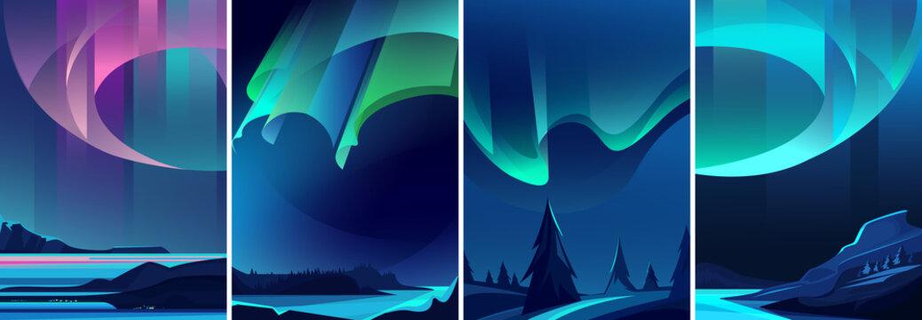Illustrations of northern lights. Nature landscapes in vertical orientation.