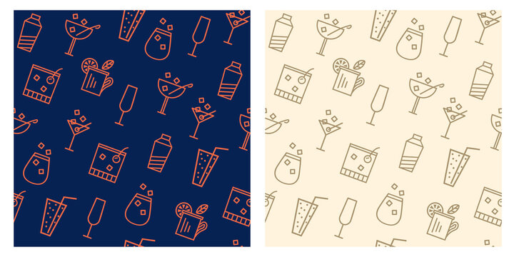 flat lines cocktails seamless pattern