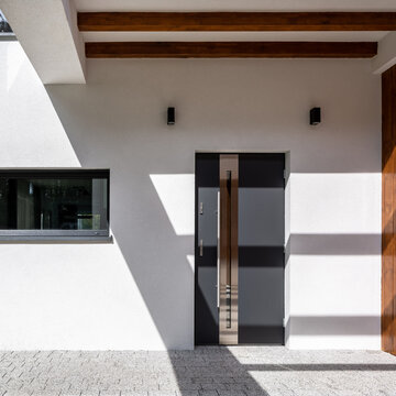 Modern front door in house
