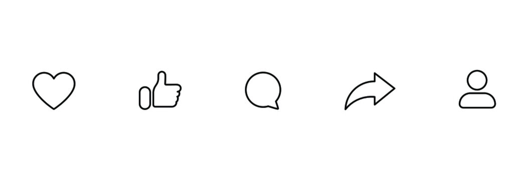 Social media icons set like share comment love repost admin user silhouette flat line art symbols