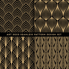 Art deco style seamless pattern design set - golden line repeat patterns on black background