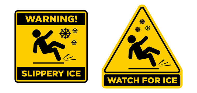 Slippery ice sign. Slip danger icon. Vector sign on transparent background