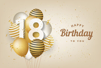 Happy 18th birthday with gold balloons greeting card background. 18 years anniversary. 18th celebrating with confetti. Vector stock Wall mural