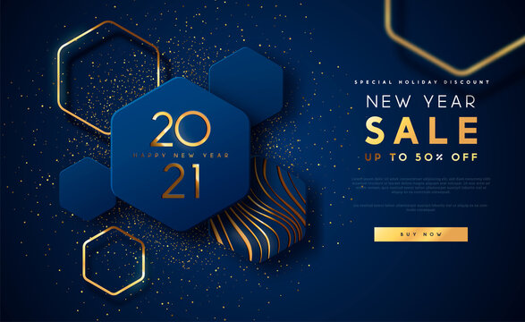 New Year 2021 gold sale template background
