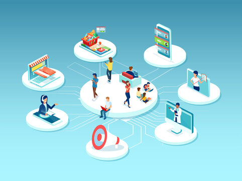 Vector of people surrounded by many online services, education, health care, shopping, customer support