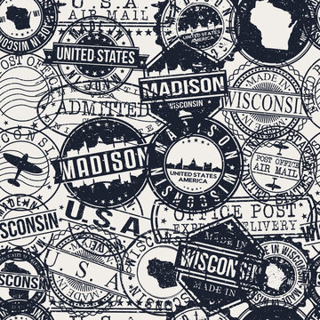 Madison, WI, USA Pattern of Stamps. Travel Passport Stamps. Made In Product. Design Seals in Old Style Insignia Seamless. Icon Clip Art Vector Collection.