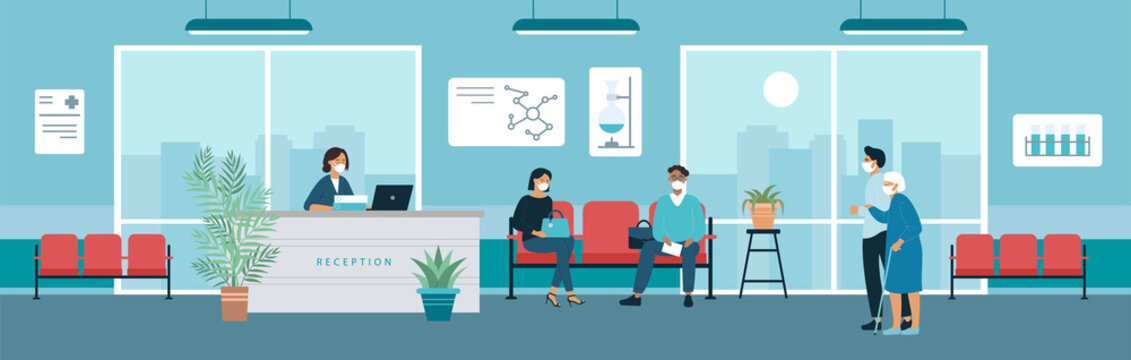 Hospital reception office hall vector illustration. Cartoon man woman patient characters in medical masks sitting in chairs, waiting doctor appointment in lobby, receptionist standing behind counter