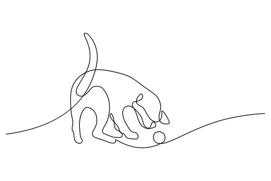 Playful dog in continuous line art drawing style. Puppy playing with a ball minimalist black linear sketch isolated on white background. Vector illustration