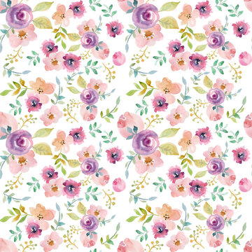 Romantic delicate watercolor abstract flowers of mauve and pink color