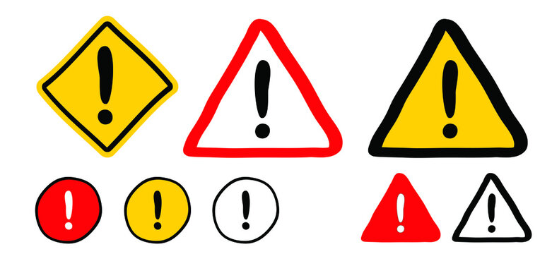 Hand drawn exclamation mark road signs. Hazard warning attention sign with exclamation mark symbol. Stop, do not enter. Attentiuon, beware danger. Flat caution vector icons.