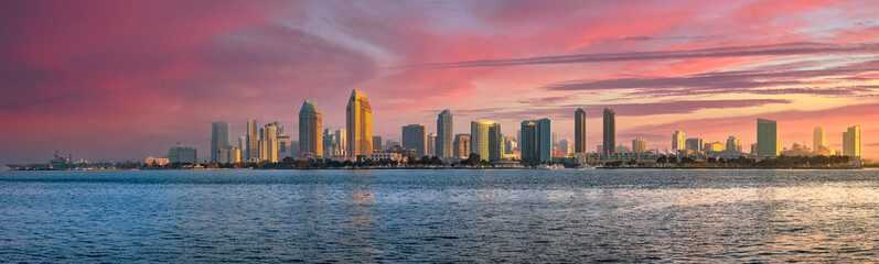 San Diego, California skyline at dawn