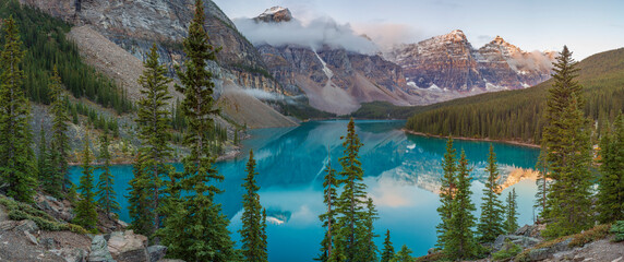 Early morning at Moraine Lake in Banff National Park Alberta Canada