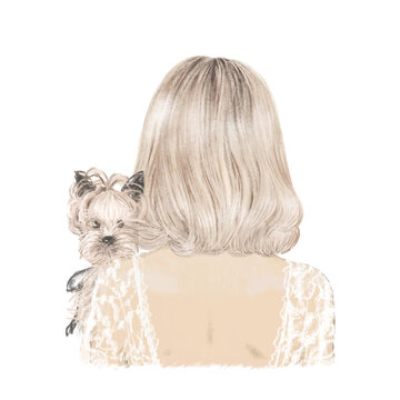 Beautiful blonde girl with her dog yorkie, hand drawn illustration
