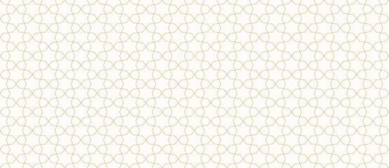 Abstract geometric seamless pattern in traditional Arabian style. Golden ornament with thin lines, oriental mosaic, subtle grid. Gold and white background. Modern minimal design for decor, wallpaper