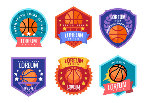 Basketball comand emblem. Illustration in flat style. Vector