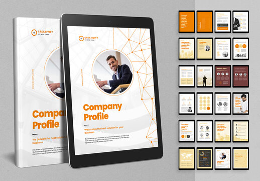 Digital Company Profile Brochure Layout with Abstract Connections Poly Line Elements