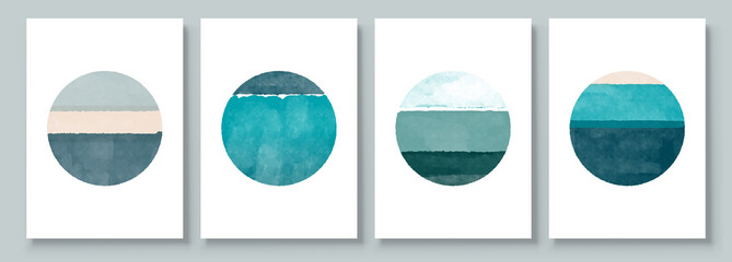 Set of Abstract Hand Painted Circle for Wall Decoration, Postcard, Social Media Banner Background. Modern Abstract Painting Artwork. Vector Pattern