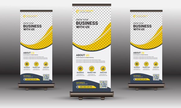 Yellow Corporate Business Roll-Up Banner Standee Template Design Set with Creative Shapes
