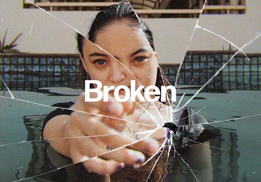 Broken Glass Photo Effect Mockup