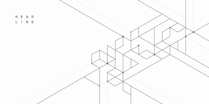Abstract geometric technological background. Architectural construction. Vector creative design.