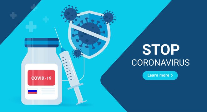 Stop coronavirus. Web-banner template of the Russian sign covid - 19 vaccine with a syringe. On a blue background.