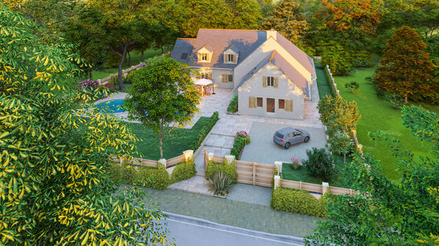 Aerial view of a Classical slate roof house with pool and garden