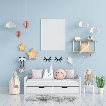 Blank photo frame mockup in blue child room, 3D rendering