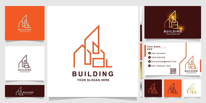 Minimalist line building or real estate logo template with business card design